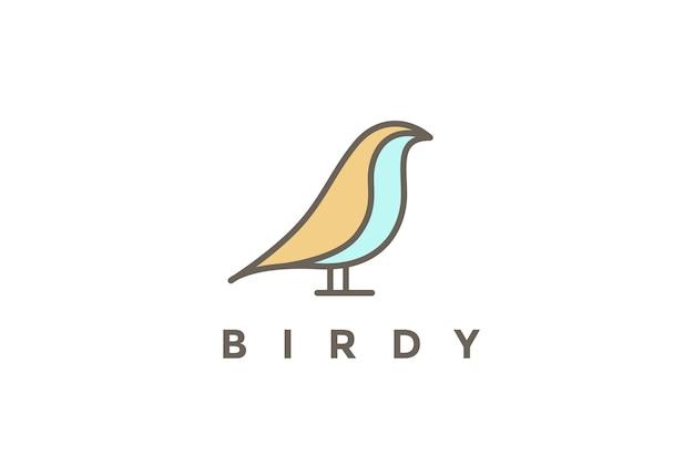 白で隔離される座っている鳥のロゴ線形スタイル