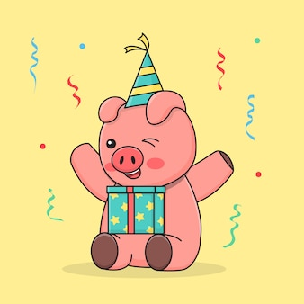 帽子とギフトボックスと座っている誕生日の貯金箱 Premiumベクター