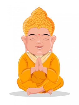 Sitting buddha. cute cartoon character