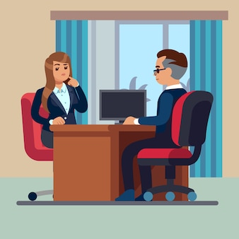 Sitting businessman consultant and woman meet to interview talking work vector concept