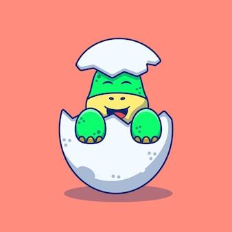 Sitting cute little dinosaur illustration design