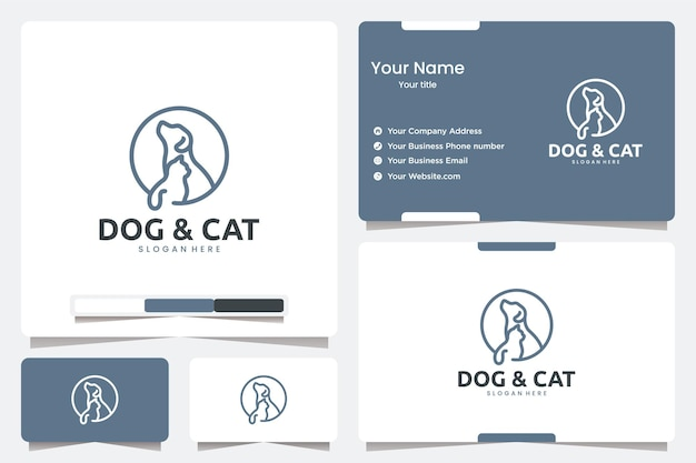 Sitting dog and cat with line art , logo design inspiration