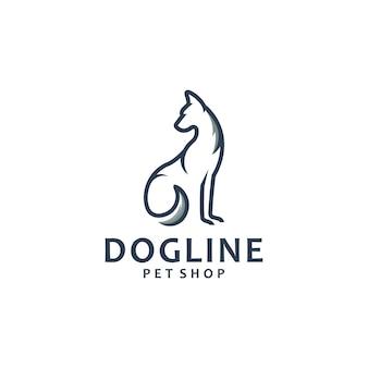 座っている犬、線画、ロゴデザインのインスピレーション