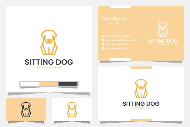 Sitting dog with line art , logo design inspiration