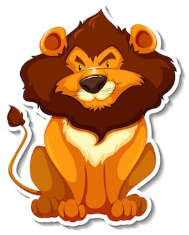 Sitting lion cartoon character on white background