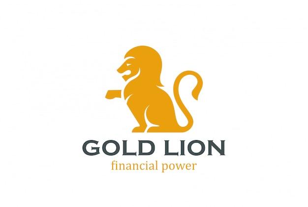 座っているライオンシルエットのロゴのテンプレート
