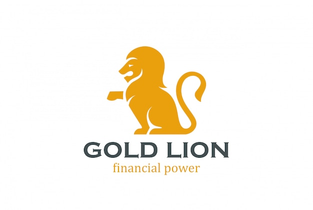 Sitting lion silhouette logo template