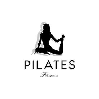 座っているピラティスの女性のシルエットのロゴデザイン