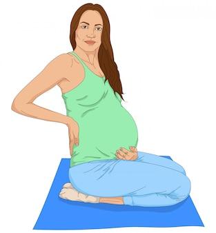 Sitting pregnant woman