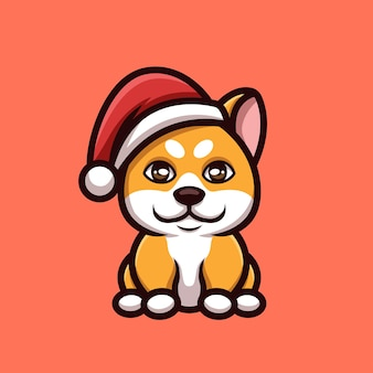 Sitting shiba christmas creative cartoon character mascot logo