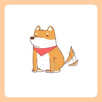 앉아있는 시바 개가 꼬리를 흔들어줍니다.