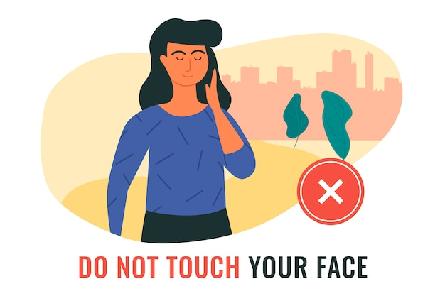 Situation, illustrating a woman touching her face during the spread of covid-19 infection. do not touch your face.