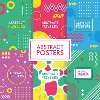 Шесть абстрактных плакатов с мемфисскими баннерами, векторные иллюстрации
