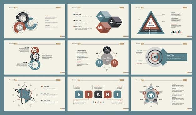 6 가지 분석 차트 슬라이드 템플릿 세트
