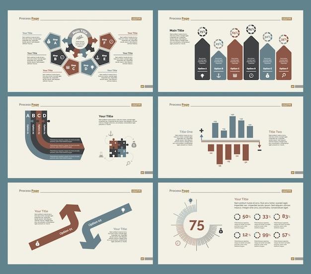 Six analyzing slide templates set