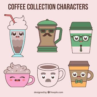 Six animated coffees