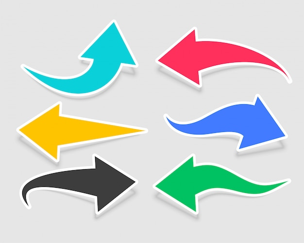 Six arrow stickers in different colors