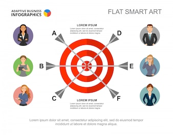 Six arrows in target process chart template for presentation. Business data.