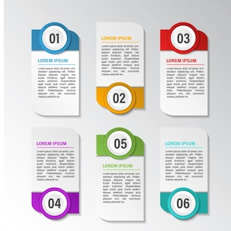 Six banners with options for an infographic