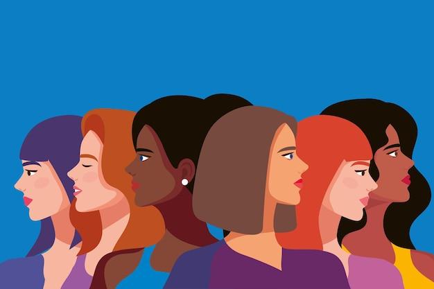 6人の美しい女の子のキャラクター