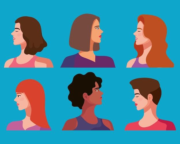 6人の美しい女性キャラクター
