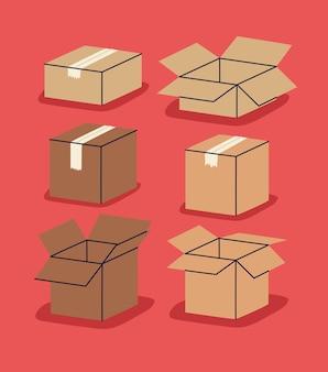 베이지색 상자 6개