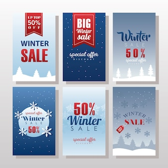 Six big winter sale letterings with ribbons and snowflakes illustration design