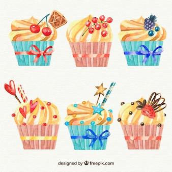 Six birthday muffins