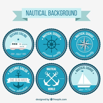 Six blue nautical stamps