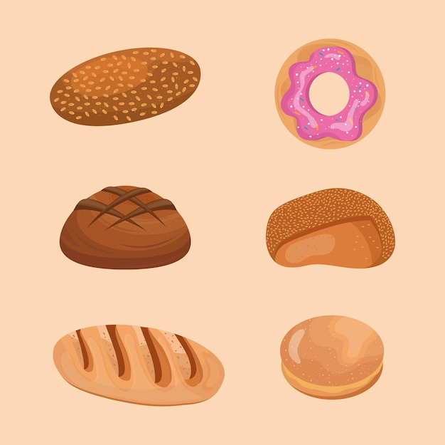 Six breads delicious pastry products icons.
