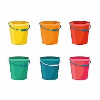 흰색 배경에 빨간색, 주황색, 노란색, 녹색, 분홍색 및 파란색에 6개의 양동이