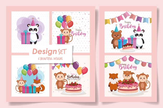 Six of cards happy birthday with cute animals