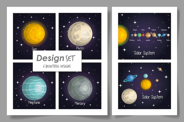 Six cards of solar system