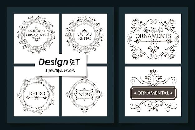 Six cards of vintage ornamental frames