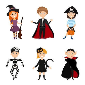 Six children in scary carnival costumes for halloween. cartoon kids illustration on halloween.