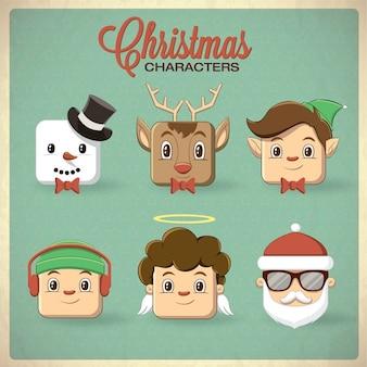 Natale personaggio icona setvector illustrazione
