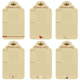 Шесть рождественских праздничных карточек рецептов