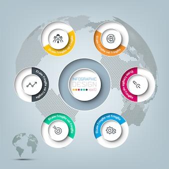 ビジネスアイコンインフォグラフィックを持つ6つの円。