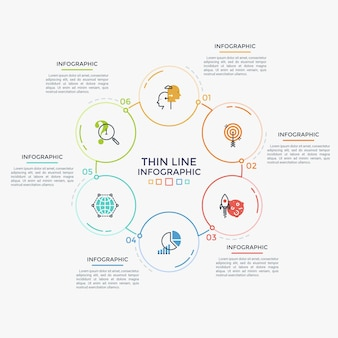 Six circular elements with linear pictograms and numbers inside connected into ring-like diagram. cyclical process visualization. minimal infographic design template. modern vector illustration.