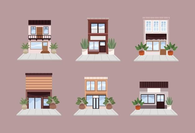 Шесть городских городских построек
