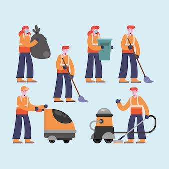 Шесть персонажей группы уборщиков