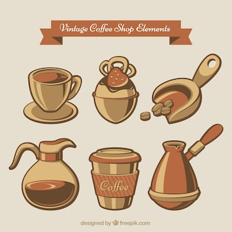 Six coffee accessories