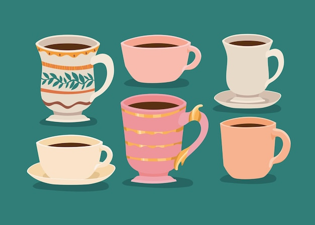 Six coffee cups