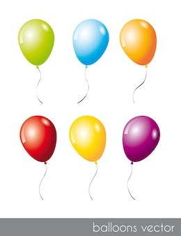 Six colorful balloons isolated over white background vector illustration