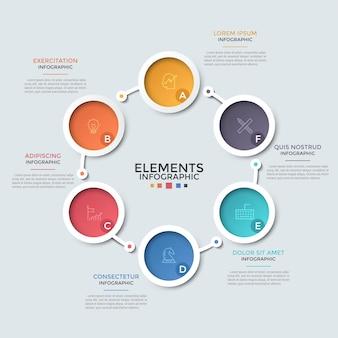 線で結ばれた線形の絵文字と文字が入った6つのカラフルな円。循環開発ビジネスプロセスの視覚化の概念。インフォグラフィックデザインテンプレート。