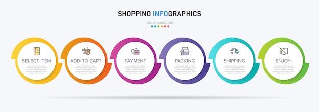 Шесть красочных графических элементов для последовательных шагов процесса покупок с иконками и текстом