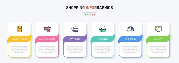 아이콘 및 텍스트가 있는 쇼핑 프로세스 연속 단계를 위한 6개의 다채로운 그래픽 요소