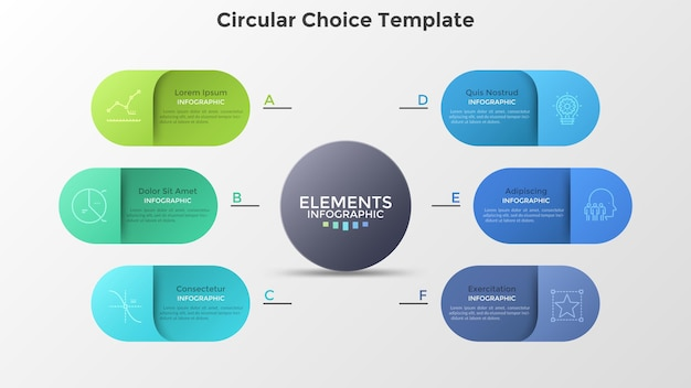 メインサークルの周りに配置された6つのカラフルな丸みを帯びた要素。会社が提供する6つのサービスの概念。クリエイティブなインフォグラフィックデザインテンプレート。ビジネスプレゼンテーション、レポートのモダンなベクトルイラスト。