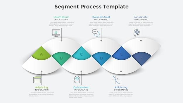 横一列に配置された6つのカラフルなセクターまたはセグメント。きれいなインフォグラフィックデザインテンプレート。 6段階のビジネスプラン、プロジェクトまたはプロセスの視覚化、パンフレットの最新のベクターイラスト。