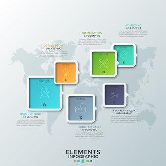 화살표 또는 포인터, 얇은 선 기호 및 내부 문자가있는 다양한 크기의 6 개의 다채로운 사각형 요소가 세계지도에 배치됩니다. 크리 에이 티브 인포 그래픽 디자인 템플릿입니다. 웹 사이트.